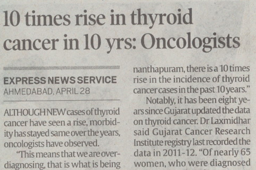 10 times rise in Thyroid cancer in 10 yrs:Oncologists
