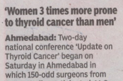 Women 3 times more prome to Thyroid cancer than men